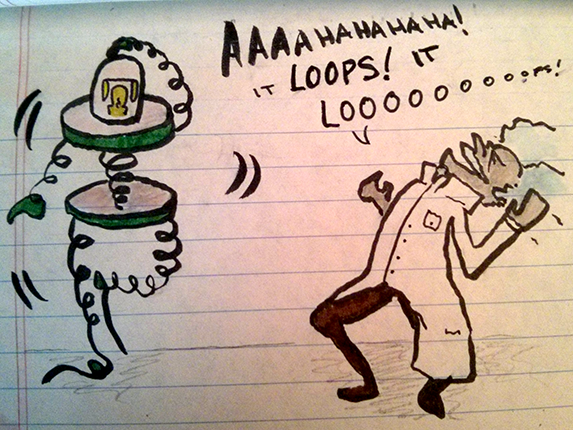 manical laughter. it loops. it loops