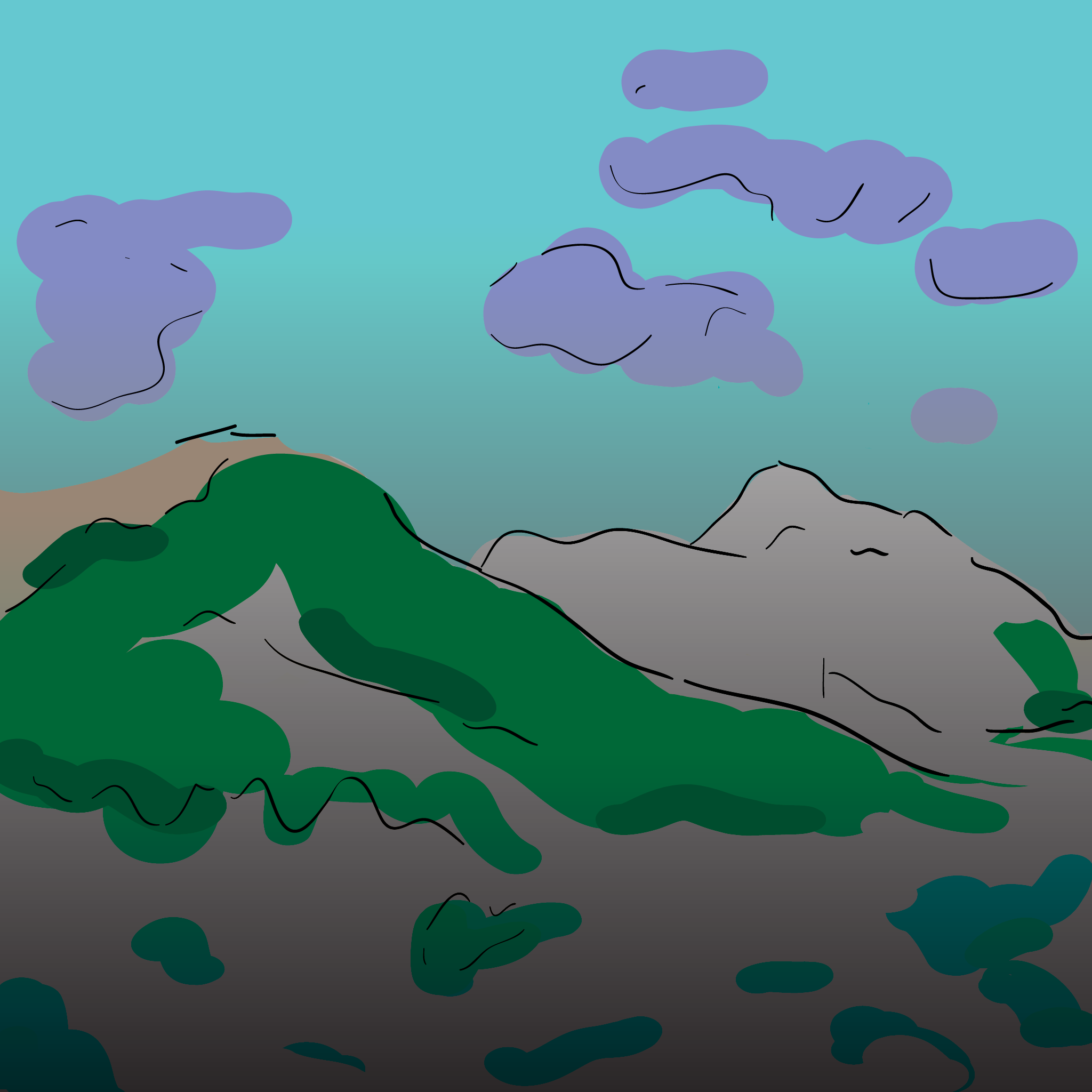 sketch: grey mountains