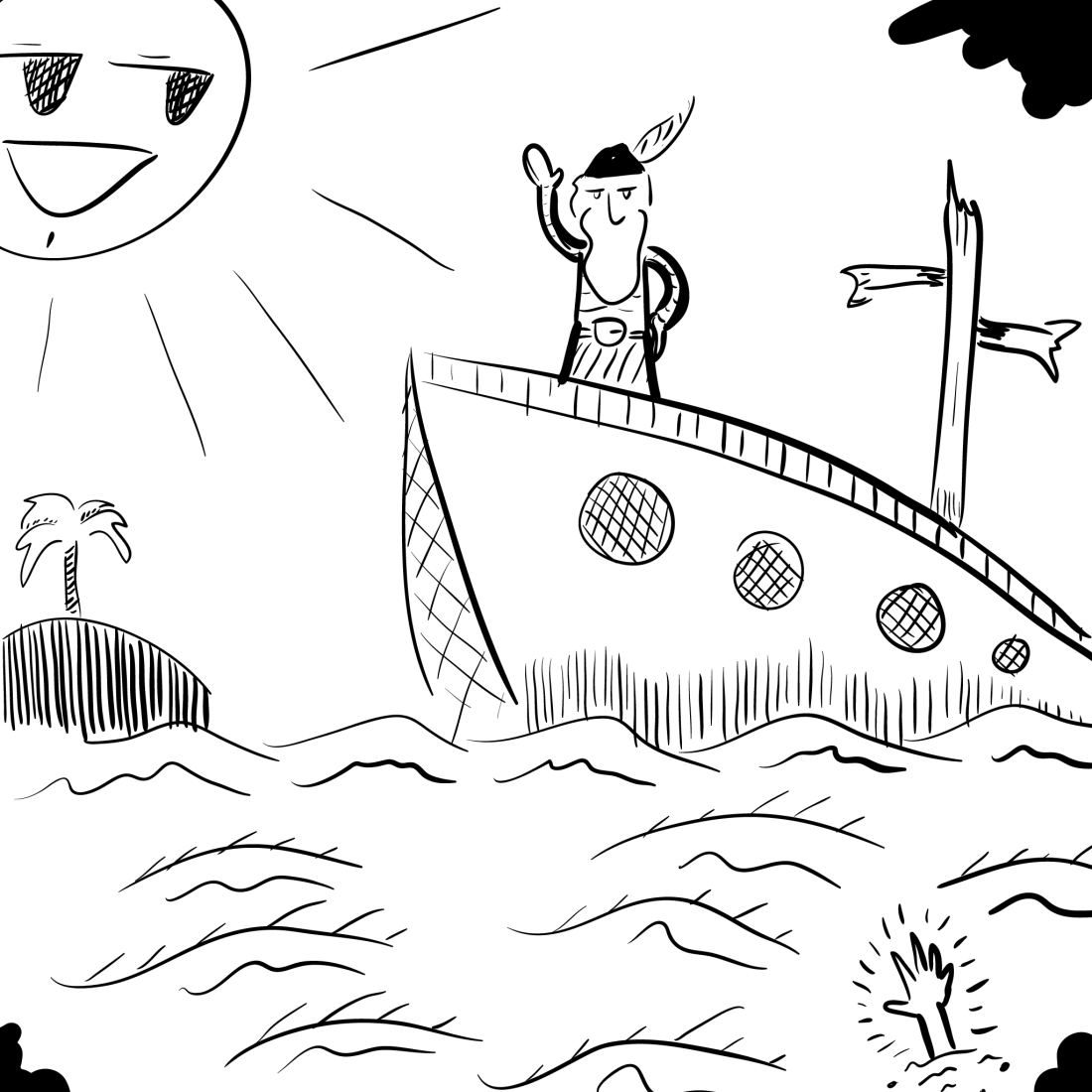 sketch: a ship arriving too late