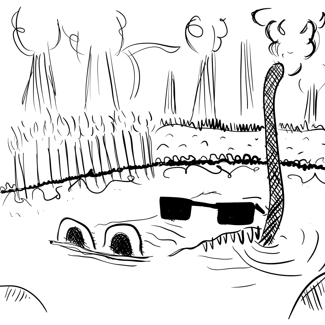 sketch: the head of a gator wearing shades, using a scuba stick (read: snorkel) to exhale a smoky substance -- presumably marijuana. also the name of the sketch is a reference to Brownsville Station's 1973 hit song, obviously. the image is crudely rendered in monotone