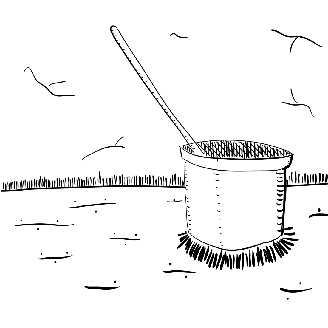 crude rendering of a mop bucket, inert and lifeless, as they often are