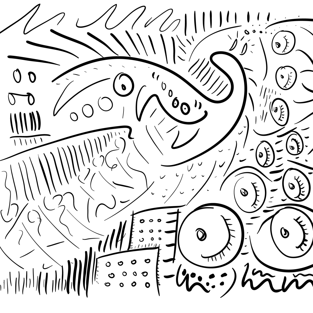 more abstruse mono linework, this one like a sea creature (almost..)