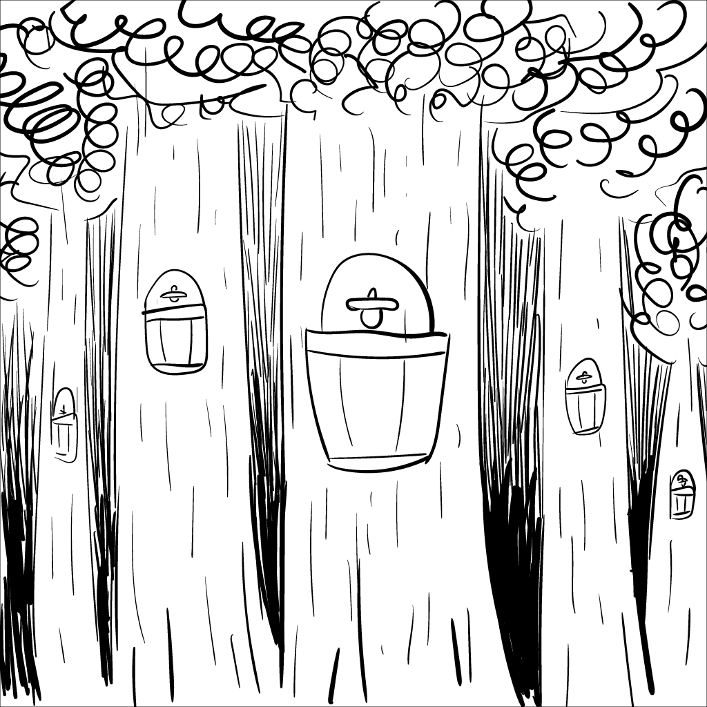 a crude mono sketch of maple trees tapped with buckets