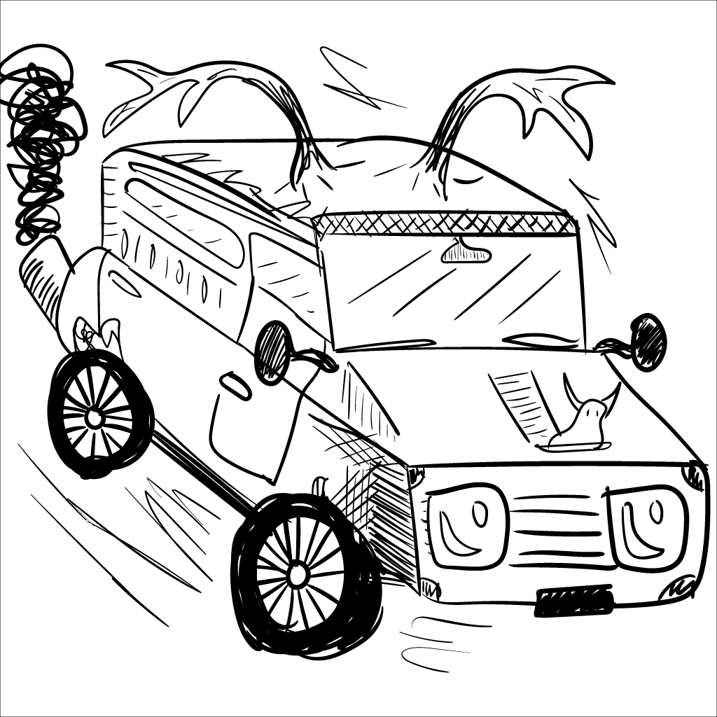 a mono sketch of some kind of horned jeep