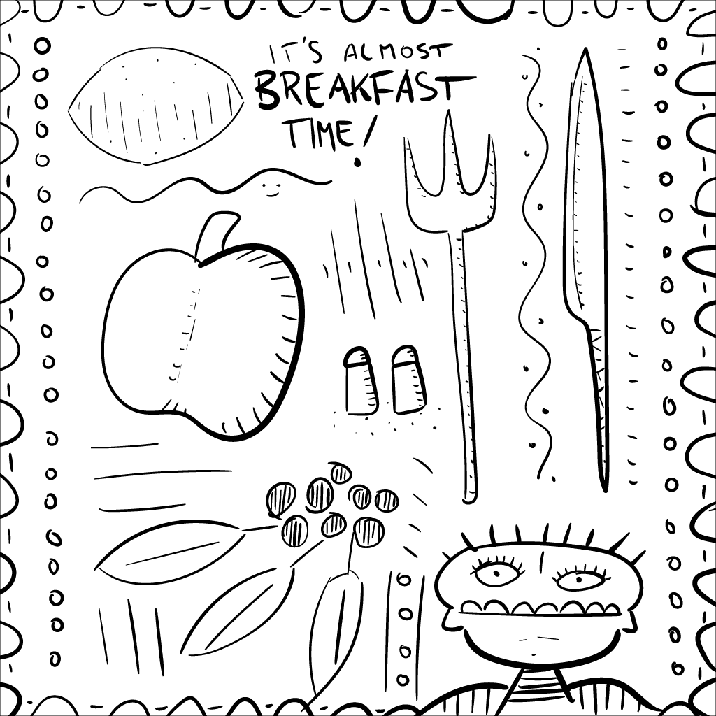 an absurd collection of crudely rendered objects and a weird face. many objects are food related; others are just wobbly shapes. there's text that reads: it's almost breakfast time!