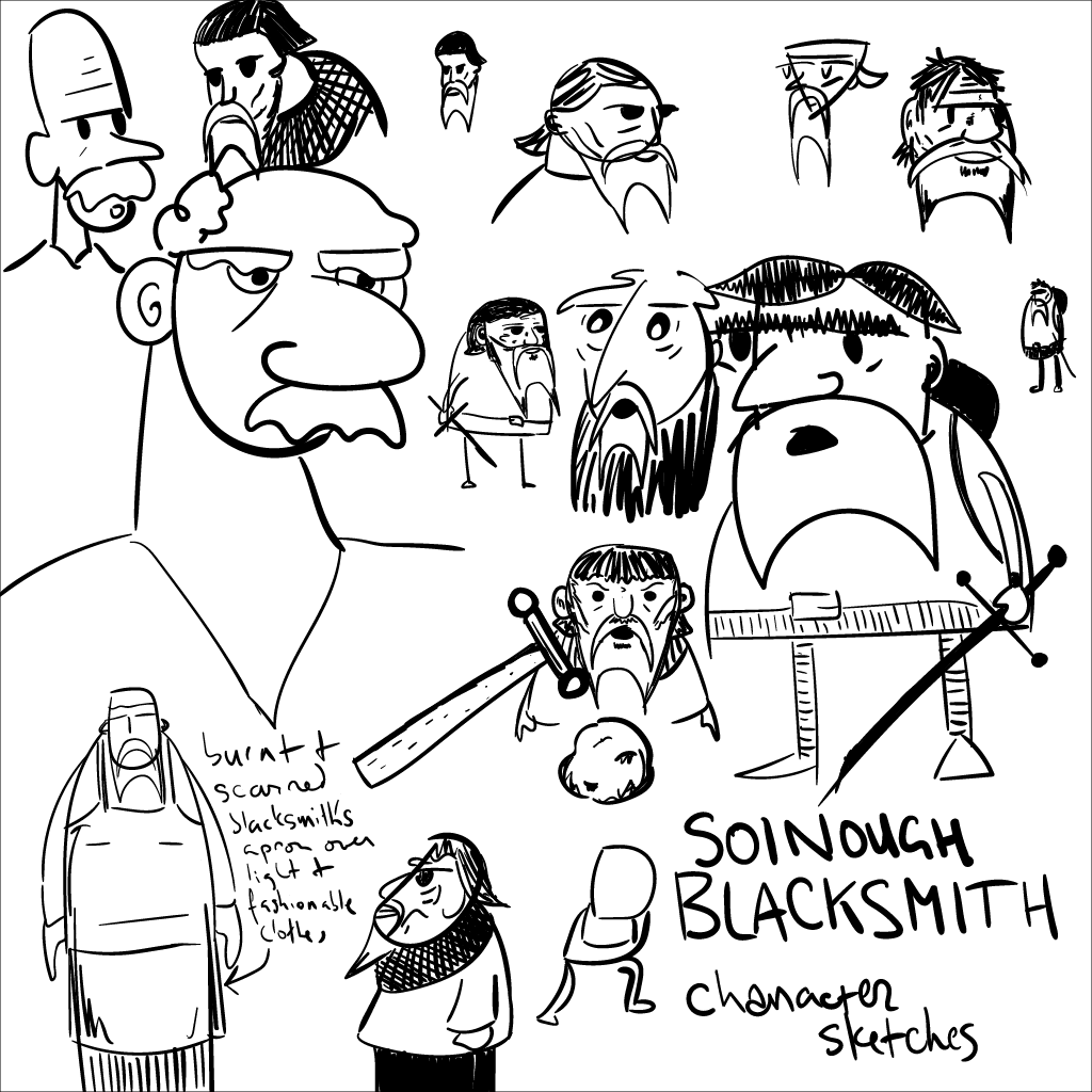 a bunch of rough mono sketches of a squat fellow named Soinough Blacksmith