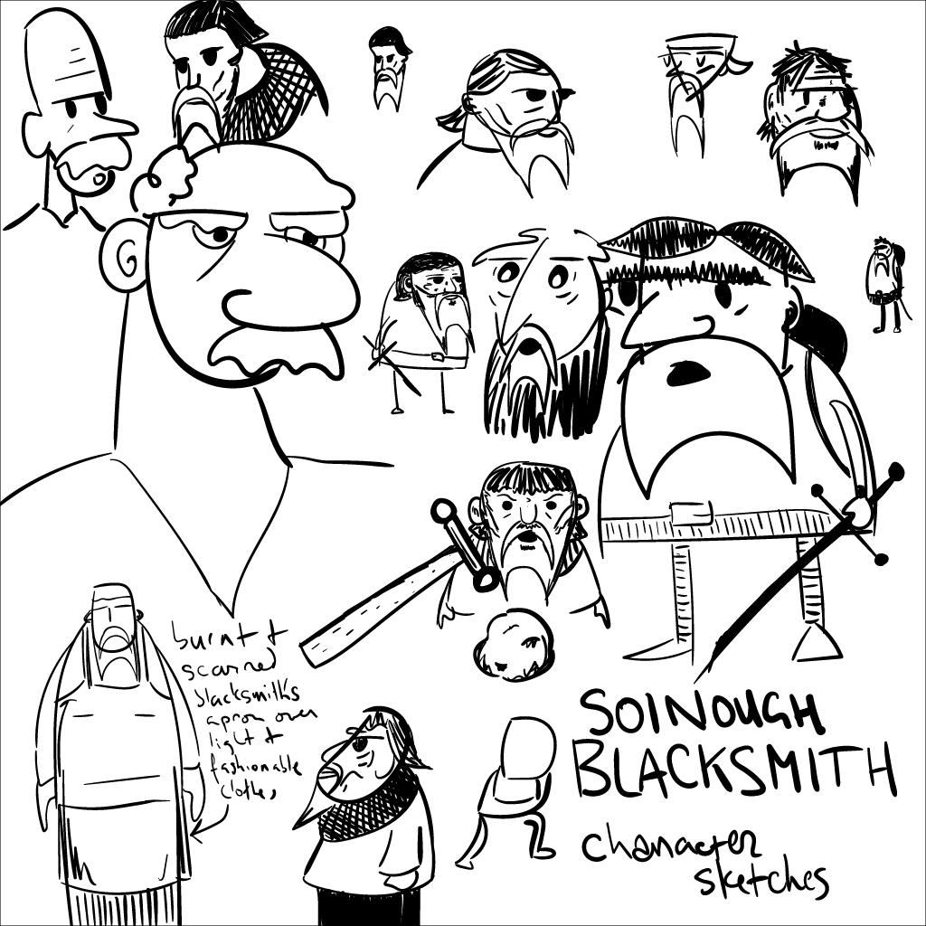 a bunch of rough mono sketches of a squat fellow named Soinough Blacksmith