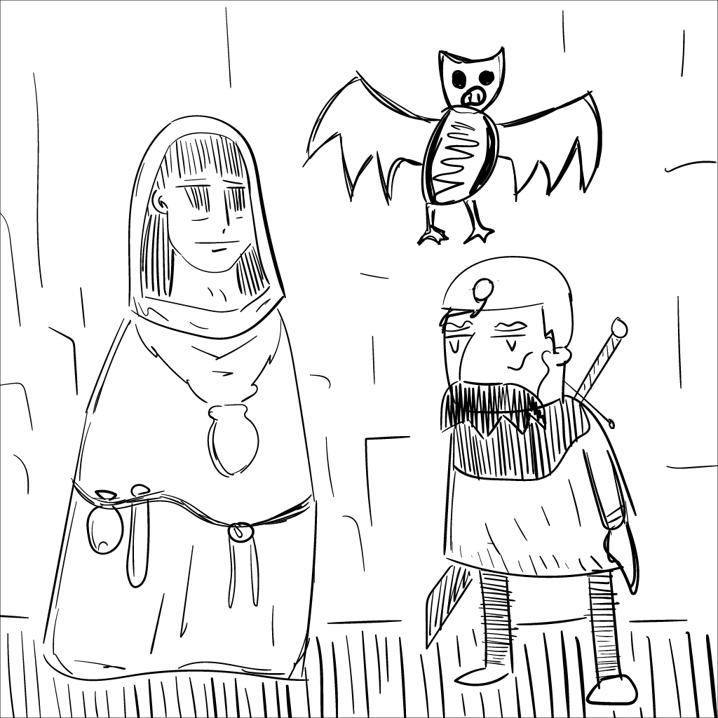 two roughly-sketched adventurers, and an ugly bat, in mono