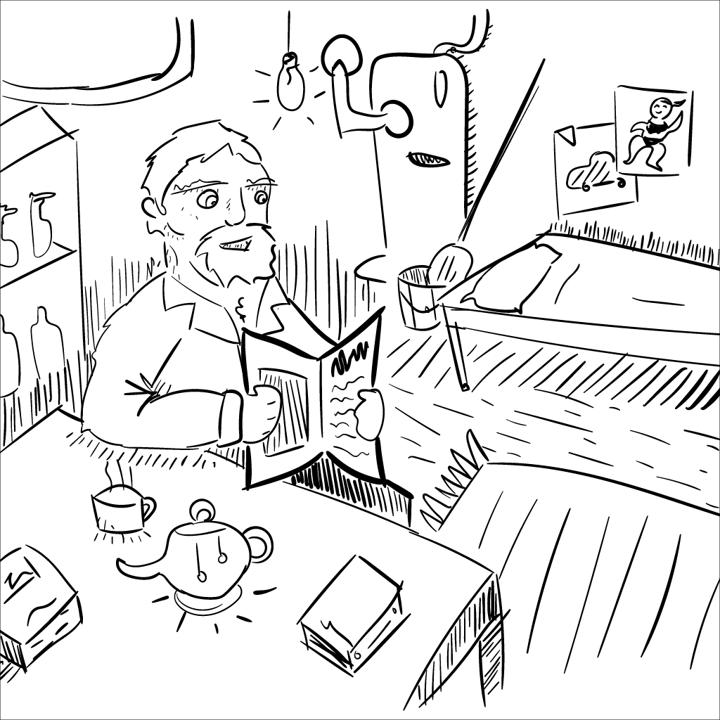 a crude rendering of a janitor in the boiler room enjoying a cup of tea with a newspaper