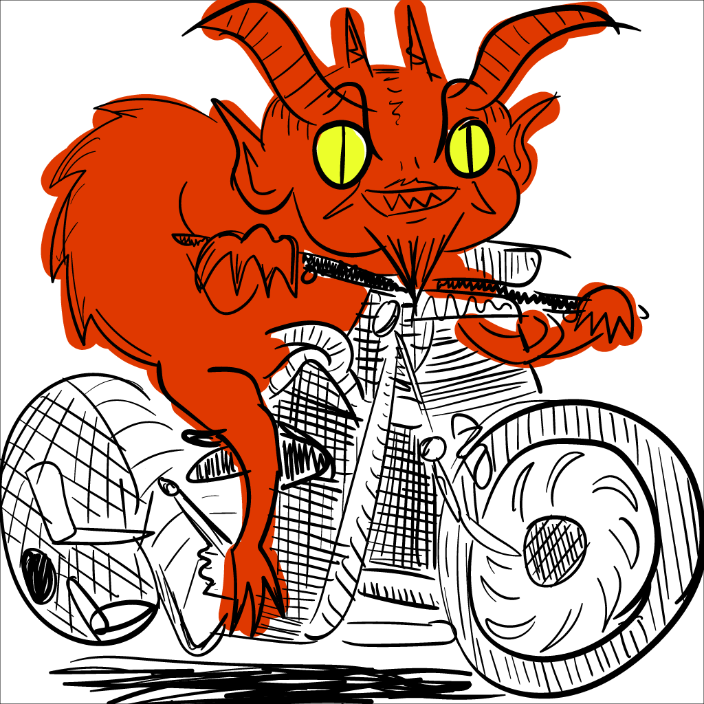 a weirdly-shaded mono motorcycle with a bright red creature poorly coloured atop it, grinning at the viewer with lascivious malice