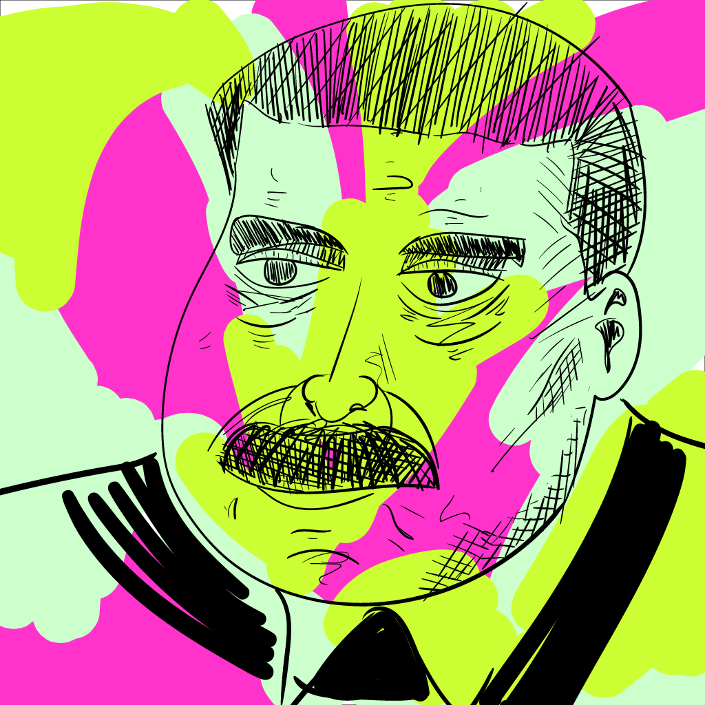a weirdly splotchy drawing of nicolas maduro (forgive the lack of accent, if you can see this); the line work is okay but the colours are a mess