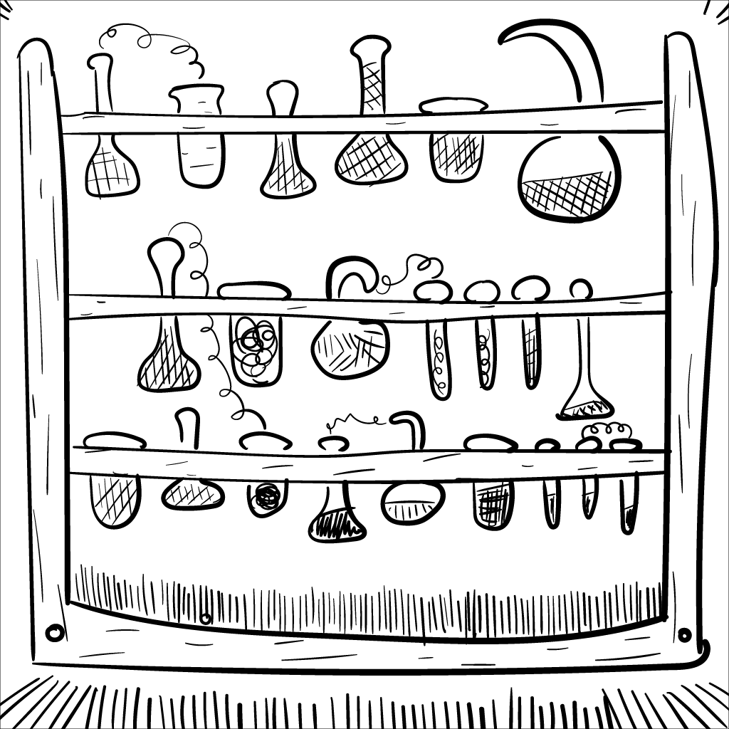 on point for the current Sprawling Place arc, here's a bunch of crudely rendered mono beakers, flasks, test tubes, etc, all in a stylish rack.