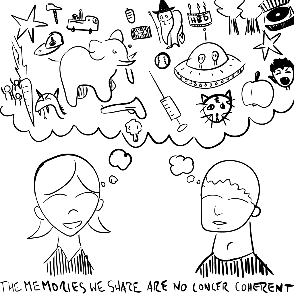crude mono sketch of a happy girl and boy collectively dreaming about all sorts of stuff -- a chaotic maelstrom of objects and ideas. at the bottom of the image, the title is inscribed: the memories we share are no longer coherent