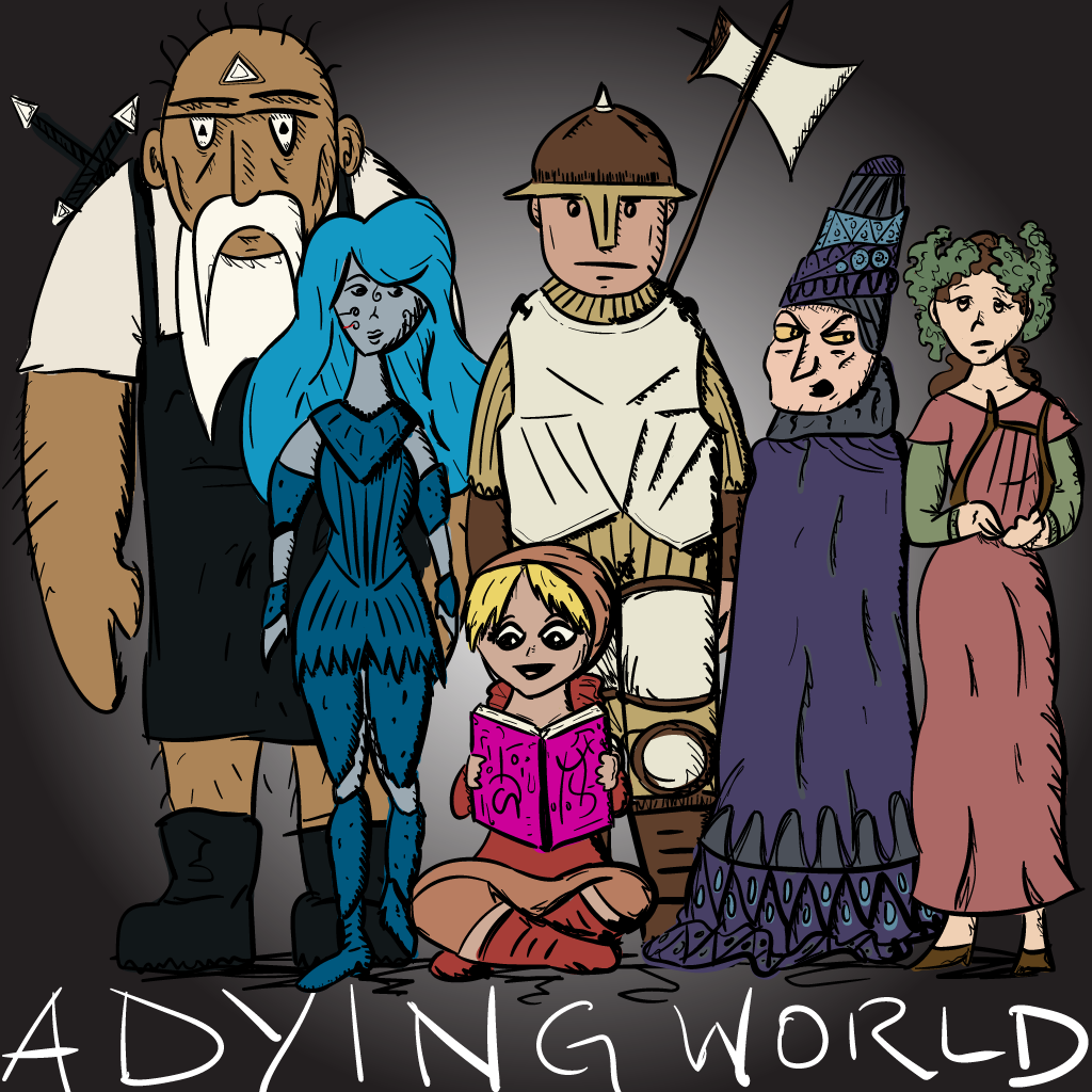 colourful sketch of an array of weird sci-fi-fantasy characters, including a hulking blacksmith, a blue lady, a warrior, a girl reading a magic book, a sinister figure with a weird hat, and a lady carrying a harp