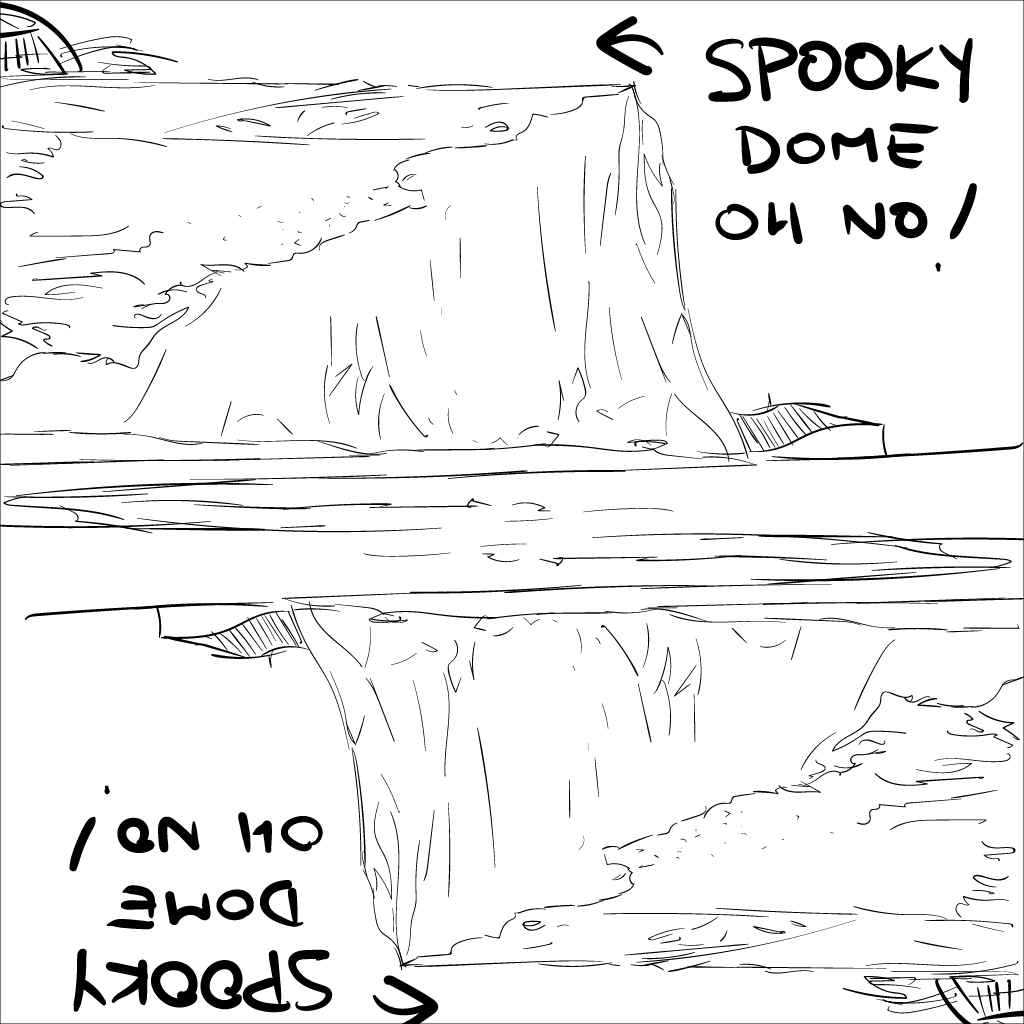a crude ripoff drawing from a photo of the cliffs of Dover. weird reflective thing going on with the surface of the water. cartoony text points to the lamely-drawn dome atop the cliffs, proclaiming, spooky dome, oh no!