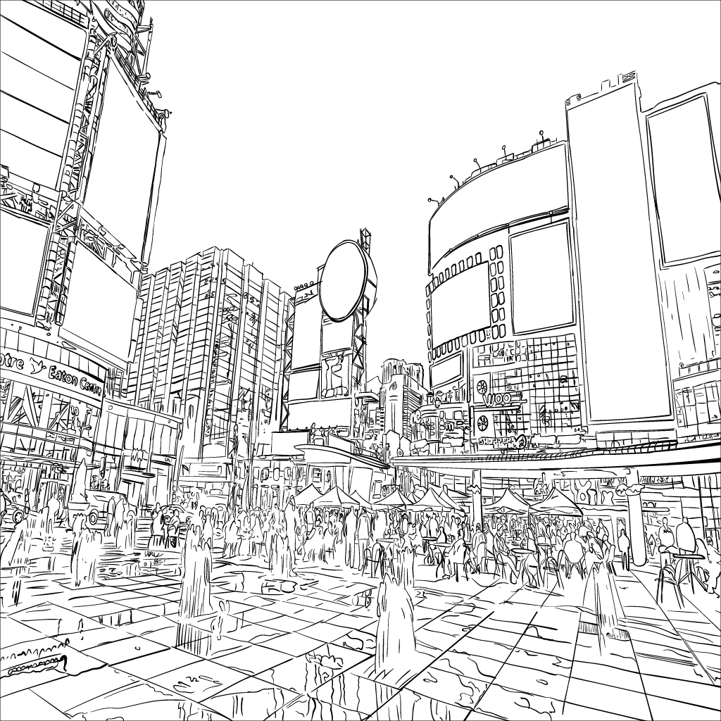 mono tracing of a warped Yonge & Dundas Square in Toronto, off a photo culled from Wikipedia