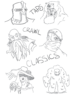 mono tracing of a fantasy adventure party, alongside a meat golem, servant of Meatbolio