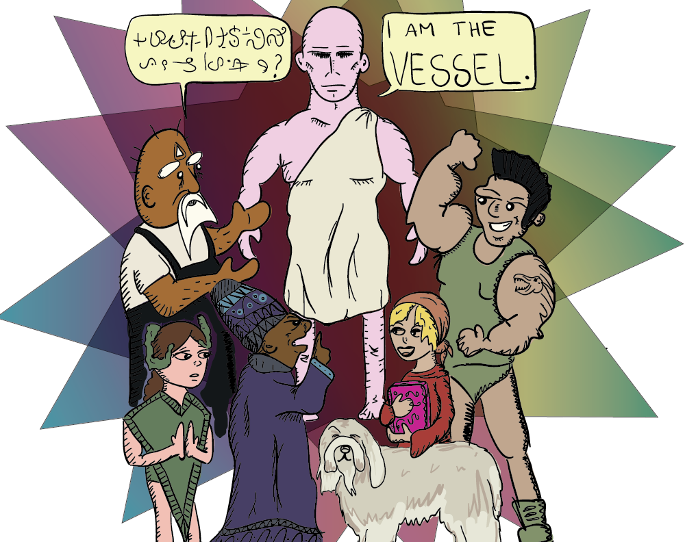 colour sketch of a group of misfits gathered around a purple man in a toga. one of the misfits speaks a bizarre language. the purple man replies that he is the vessel. others shout, smile, pray, and flex around him.