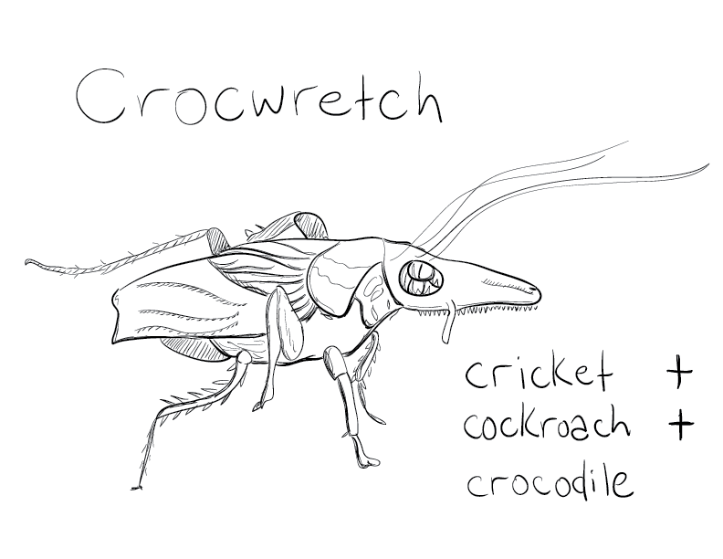 "a mono sketch labelled ""crocwretch"", with the formula, cricket, plus cockroach, plus crocodile. It's a bug with a long, reptilian face, and many segmented legs. crocwretches live in putrid sewers."