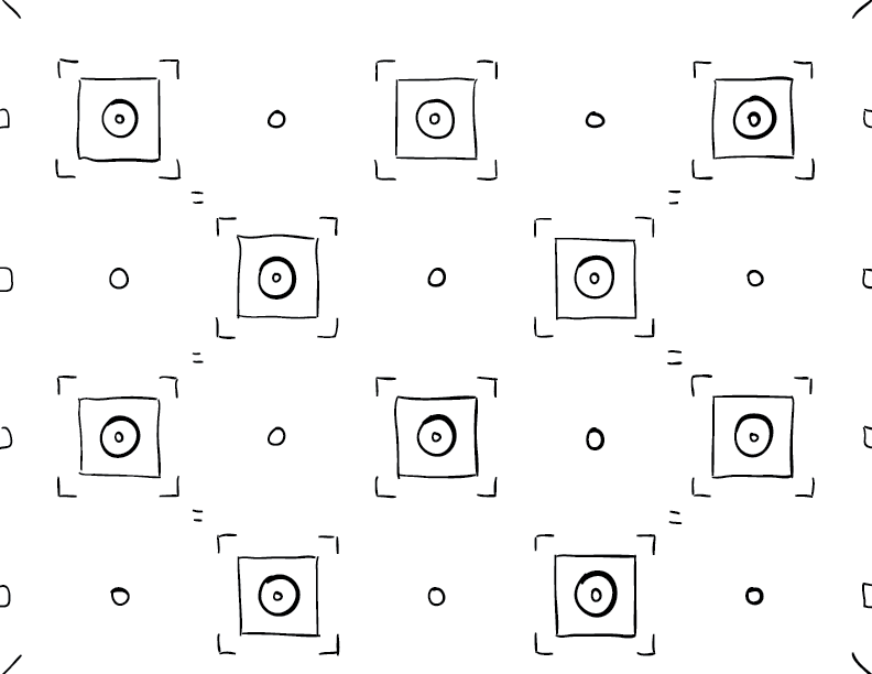 a grid-aligned mono sketch of boxes and circles and circles within boxes.