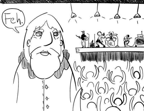 """crude mono drawing of an older man with a beard turned away from a rock concert. many people seem to be enjoying it, including the band. the bearded man appears annoyed and says """"Feh."""""""