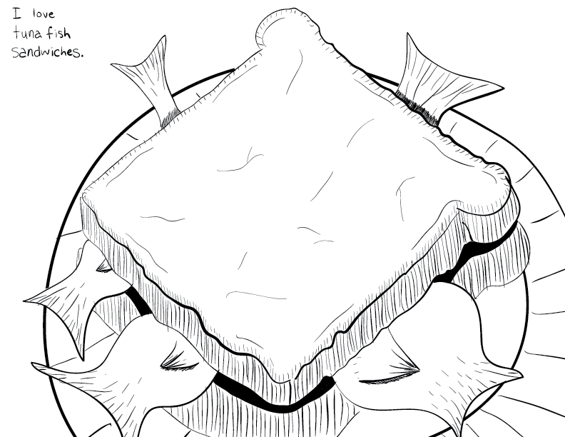 crude mono sketch of a sandwich on a plate. The sandwich has multiple fish tails sticking out of it.