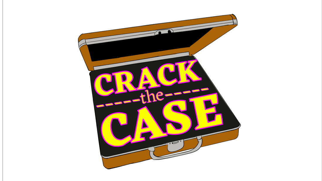 "crude colour tracing of a pixabay image showing an open briefcase. within are the words ""Crack the Case."" this is an early version of an image for a small side project I've been contracted on"