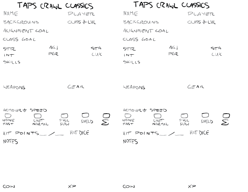 crude mono sketch of a prototype character sheet for pickup taps crawl classics rpg