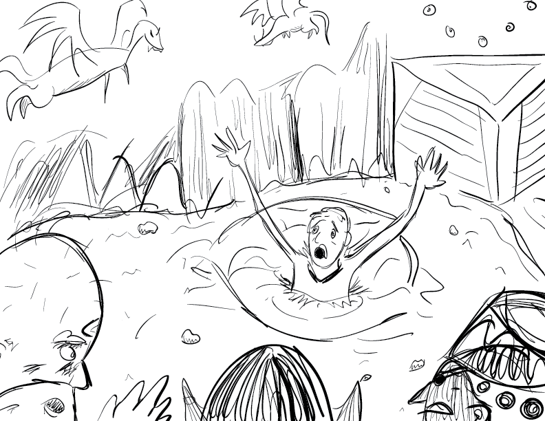 crude mono sketch of a panicked fellow drowning in quicksand amid a hellish desert landscape while some of his chagrined colleagues look on