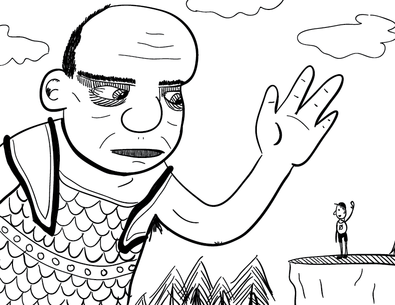 a crude mono sketch of a giant waving to a small figure, who waves back. or maybe the giant is about to squish him