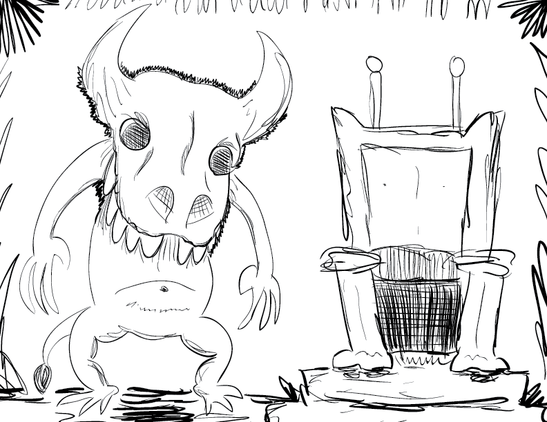 a crude mono sketch of a minotaur-ish creature beside a crummy throne