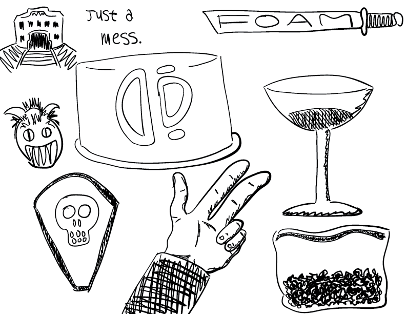 a crude collection of mono sketches including a hand, a shield, a martini, and a baggie