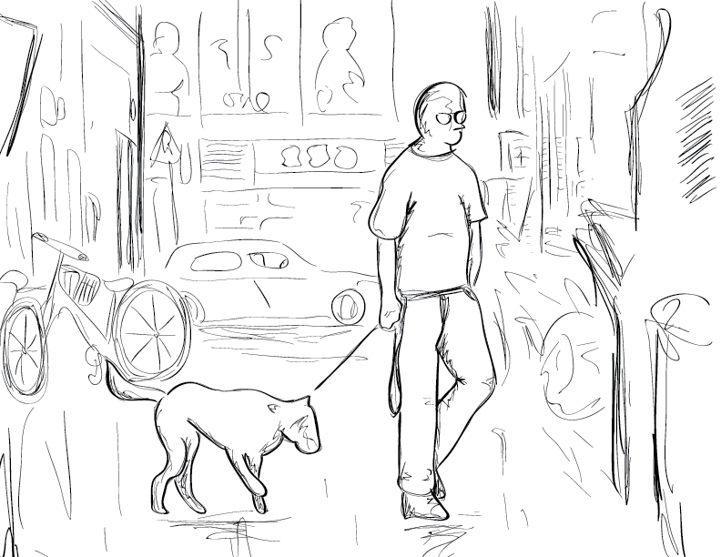 a crude mono sketch and trace of a figure walking a dog in a modern cityscape