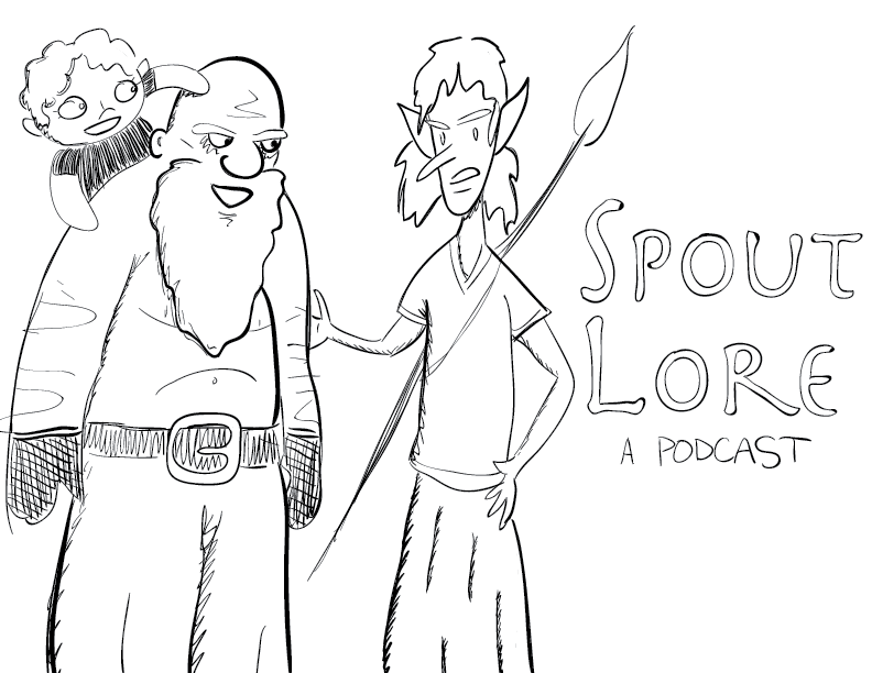 crude mono sketch of the main cast of Spout Lore, a podcast (https://spoutlore.com/)