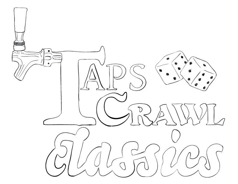 a crude mono tracing of a logo for my ongoing pickup RPG campaign, Taps Crawl Classics. alas, I find the lines thin, so I'll keep working on this