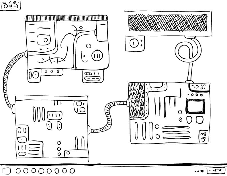 a crude mono sketch of an alien desktop