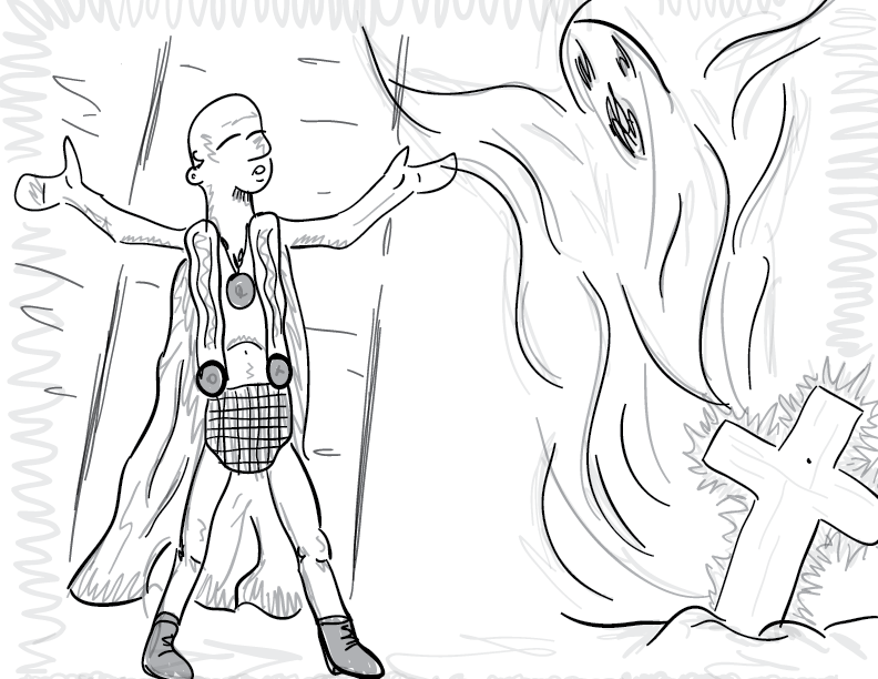 a crude greyscale sketch of a fellow in strange robes communing with a spirit emerging from a Christian-esque grave marker
