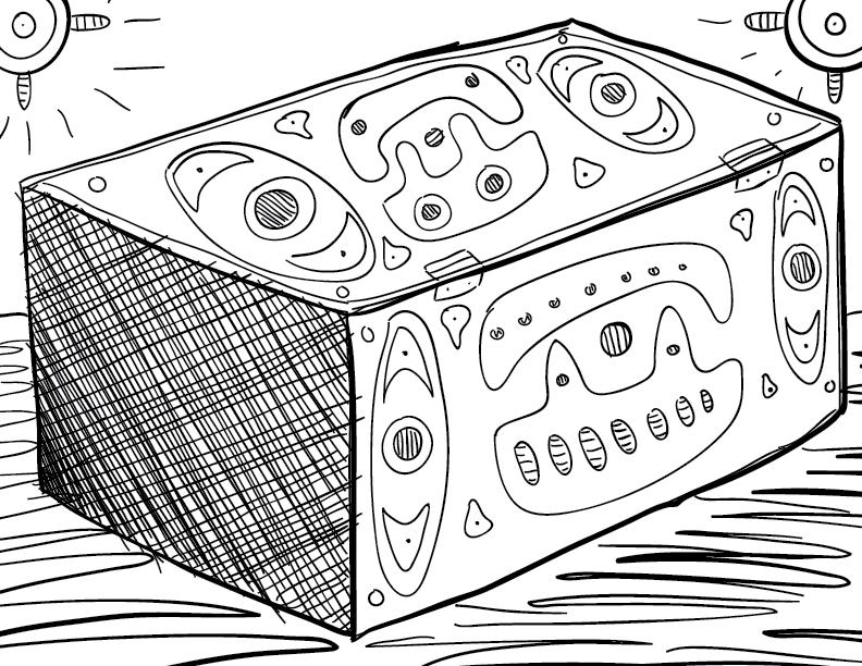 a crude mono sketch of an emblazoned box