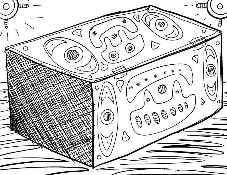 a crude mono sketch of an emblazoned box