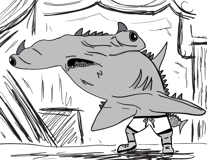 a crude greyscale trace & sketch of a horned, bipedal hammerhead shark person on maybe a stage?