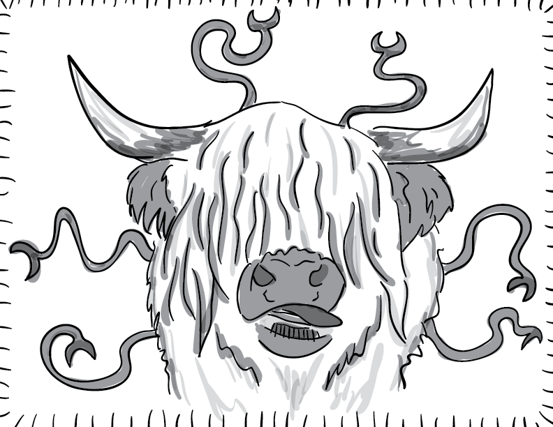 a crude greyscale trace & sketch of a fungal octo-ox