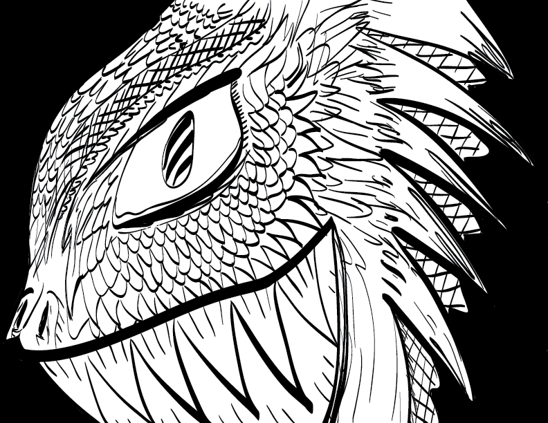 a crude mono sketch of a lizard-bird creature grinning with malicious glee