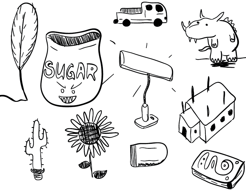 a crude mono sketch of a variety of objects, arrayed randomly