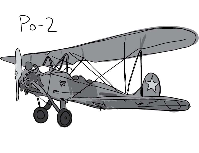 a crude greyscale trace of a Po-2 biplane from the second World War