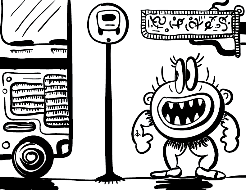 crude mono sketch of a happy figure awaiting a recently-arrived autobus