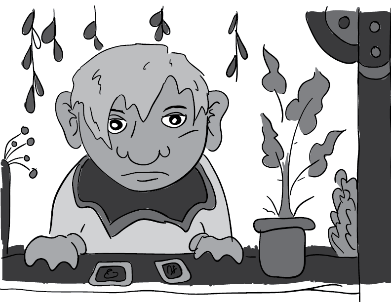 crude greyscale sketch of a bored-looking fellow with big ears and nose at a flower stand of some kind