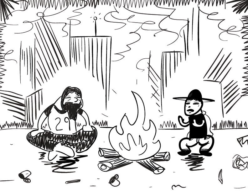 crude mono sketch of two anguished figures taking their modest ease by a fire in a ruined landscape