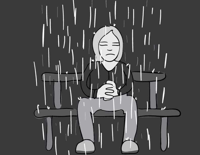 crude greyscale sketch of a person waiting, hands clasped and eyes closed, on a bench, while rain falls