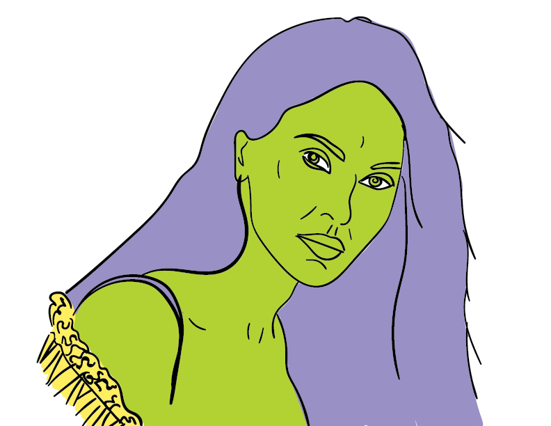 crude colourful trace of Megan Fox as Belinda Blumenthal, but green and purple and well-lined