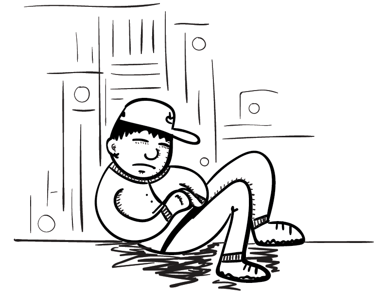 a crude mono sketch of a fellow catching some rest against an abstract-ish background